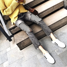 2017 Fashion Europe size Flare Jeans Women Mid Waist Wide Legs Pants Female Slim Trousers fish net hole grey ankled Femme Jeans