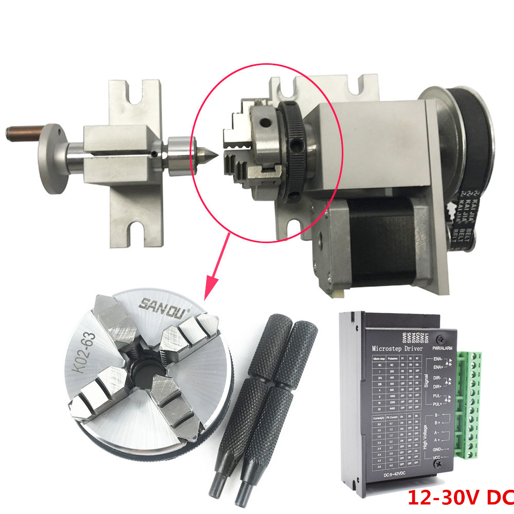 Hollow Shaft Rotary Axis CNC Router 4th A Axis 80mm100mm 3jaw 4Jaw Chuck Engrave