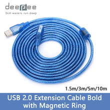 DEEPDEE Blue 3M USB2.0 Extender Cable Male To Female Transparent Line Extension Cable Computer Data Sync Cord With Magnetic Ring(China)