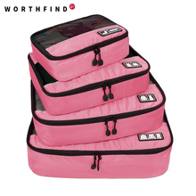 "WORTHFIND  Travel Bag 4 Set Packing Cubes Luggage Packing Organizers with Shoe Bag Fit 23"" Carry on Suitcase"