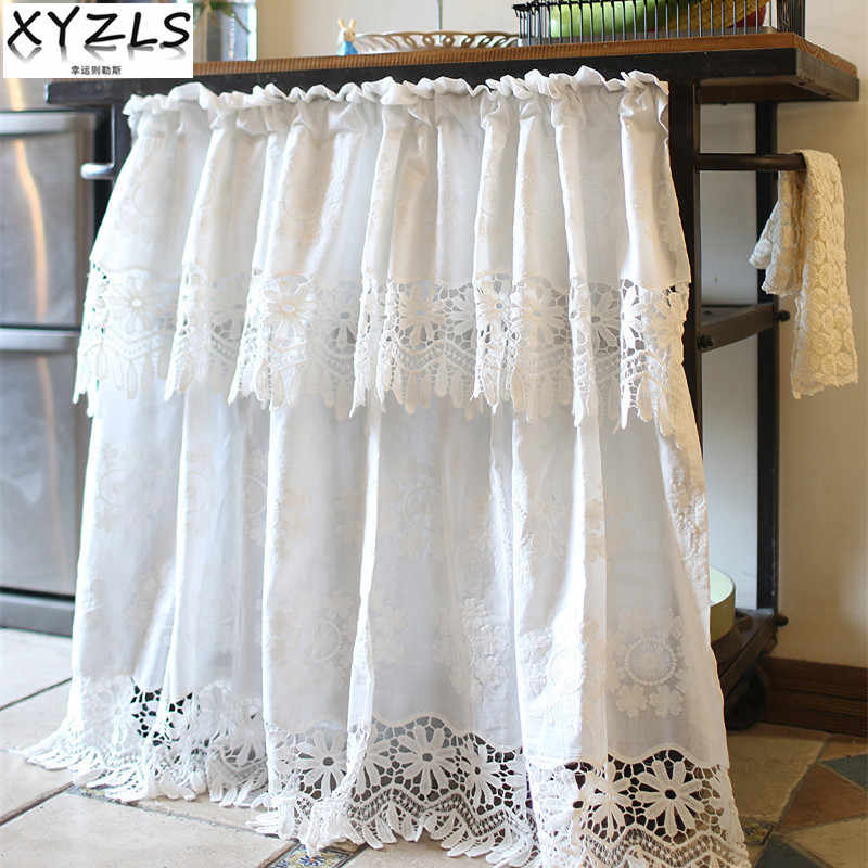 XYZLS American Style Princess Lace White Embroidered Blinds Kitchen Curtains Cafe Curtain Short Door Curtain Window  Decor
