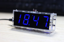 Blue LED Electronic Clock Time Thermometer Microcontroller Digital Clock DIY Kit With Tutorial(China)