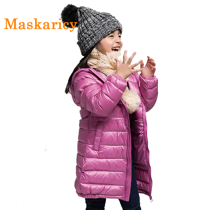 Girls Winter Light White Duck Down Coat Kids Jacket Hooded Long Sections Children Clothes Receive Warm Parka Outerwear SnowsuitÎäåæäà è àêñåññóàðû<br><br>