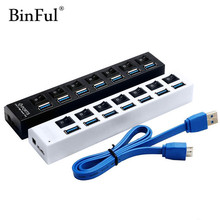 BinFul Super Speed 5Gbps 4 7 Ports with LED USB 3.0 HUB Splitter On/Off Switch Power Adapter USB Hub For Desktop Laptop Computer(China)