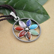 Finding -  40MM Floral Flower Healing Chakra Stone Point Beads Pendant Charms Jewelry Fit Necklace 10PCS