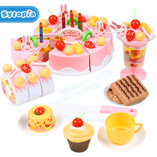 75pcs Birthday Cake DIY Model 3+ Children Kids Early Educational Classic Toy Pretend Play Kitchen Food Plastic Toy(China)