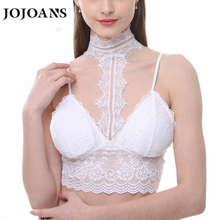 JOJOANS Womens Padded Lace Nylon Triangle Bralette Bra With Hook-Eye Halter Neck Adjustable Strap Girls Underwear(China)