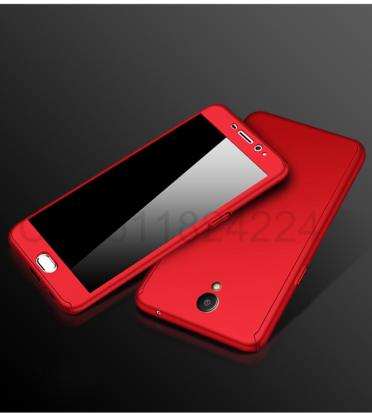 360 Full Case For Meizu Pro 7 Cases Hard PC Degree For Meizu  M6 Note M6 M5 Note  M6s Cover + Tempered Glass A14