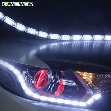 Onever Car Flexible LED Knight Rider Strip Light for Headlight Sequential Flasher DRL Flowing Amber Turn Signal Lights 12-24V