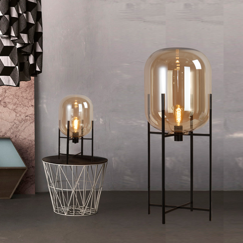 Nordic Style Glass Floor Lamp Retro Melon Floor Lights Fashion Design Glass Table Lamps Lights for Living RoomCountry HouseBar (39)