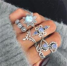 SexeMara 6pcs/Set Bohemia Stylish Sunflower Opal Moon Stone Charm Knuckle Finger Midi Rings Set for Women Jewelry Accessories(China)