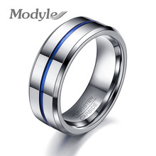 Modyle 2017 Fashion Thin Blue Line Tungsten Ring Wedding Brand 8MM Tungsten Carbide Rings for Men Jewelry(China)