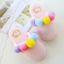Sweet beauty candy color fluffy balls home indoor slippers,spring summer daily household floor casual shoes,women birthday gift