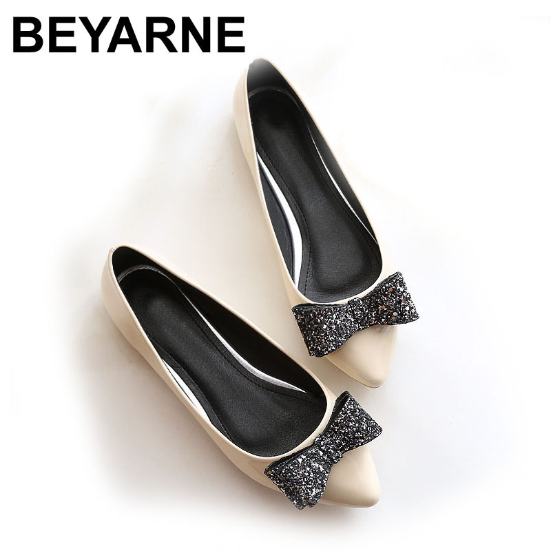 BEYARNE Flats On-Shoes Slip Ballerina-Ballet Pointy-Toe Black Big-Size Women New-Fashion title=