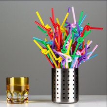 100pcs/pack Flexible Straws For Birthday Wedding Party Event Supplies Decorative Bubble Tea Cocktail Party Straws YL874693
