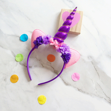 Children Glitter Unicorn Headband Hairband Easter Party DIY Hair Unicorn Horn Kids Hairband Chiffon Drop Shipping Wholesaler(China)