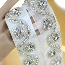 Wedding Accessories Real Picture Discount Crystal Beads Shinny Cheap Promotion Charming Wedding Belt 2015 Women Sashes XW23(China)
