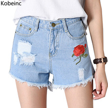 Kobeinc Rose Embroidery Ripped Jeans Shorts High Waist Denim Pantalones Cortos Summer Loose Short Pants with Pockets Female 2017