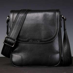 Хит продаж, черный мужской портфель в ретро стиле из натуральной кожи с натуральным лицевым покрытием, сумка-мессенджер, износостойкий и пр...