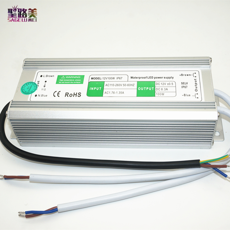 2017 DC12V 100W IP67 Waterproof Electronic Aluminum LED Driver Transformer Power Supply For LED Light Strip modules strings lamp<br>