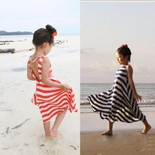 Cheap Price 1PC Kids Girls Summer One Piece Beach Dress Stripes Sundress Child Clothes 3-8Y