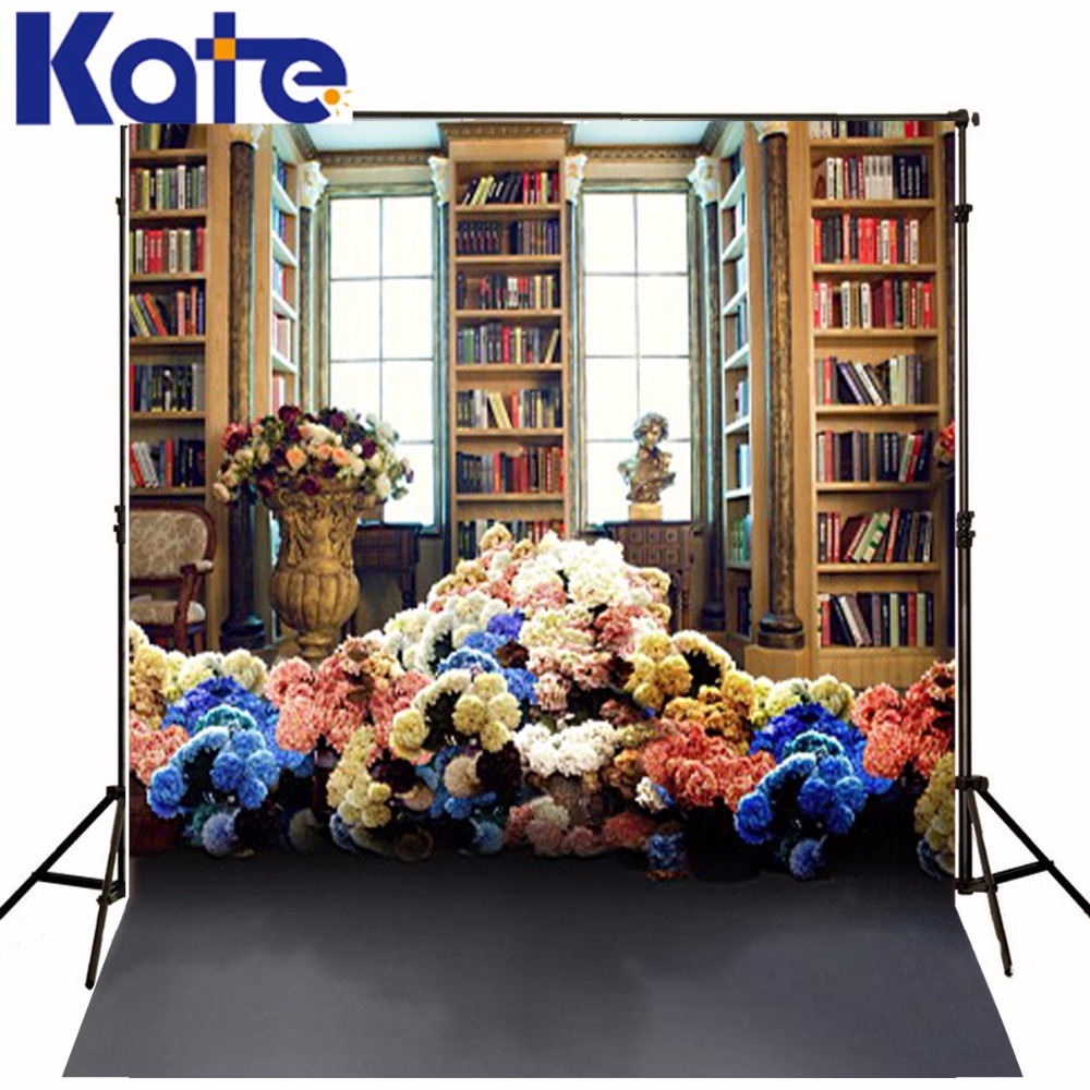 New Arrival Background Fundo Library Books Flowers 300Cm*200Cm(About 10Ft*6.5Ft) Width Backgrounds Lk 3783<br>