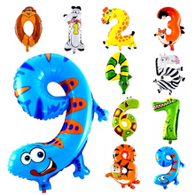 10Pcs Animal Number Foil Inflatable Balloons Wedding Happy Birthday Air Balloons Balloon Children's Gifts Inflatable Toy(China (Mainland))