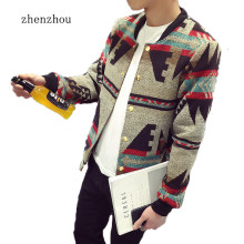 ZhenZhou Bomber Jacket Men 2017 Autumn Mens Jacket Patchwork Print Fleece Winter Jacket Male Plus Size M-5XL Jaqueta Masculino