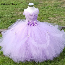 1-8Y Princess Tutu Tulle Flower Girl Dress Kids Party Pageant Bridesmaid Wedding Tutu Dress Pink Lavender Gown Dress Robe Enfant(China)