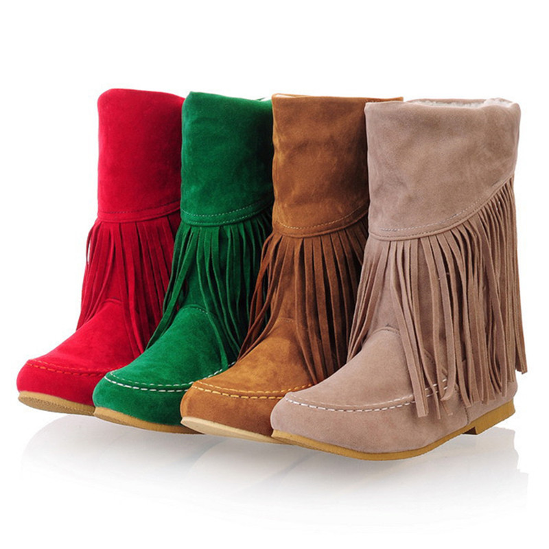 2016 New Fashion Tassel Fringe Boots Women Plus Size 34-43 High Quality Slip On Ankle Boot Women Winter Shoes Botas Mujer DX250<br>
