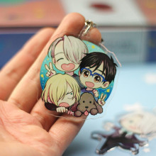 Anime Yuri!!! on Ice Keychain Victor Nikiforov Yuri Katsuki Pendant Keyring Cute Character Figure Phone Bag Charm(China)