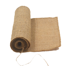 1 Roll Jute Burlap Hessian Table Runner 15*240cm Vintage Event Party Supplies Lace Table Runner for Wedding Accessories