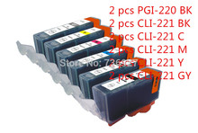 12pk ink cartidges MP980 Printer Ink Cartridges Compatible for canon Pgi 220 Cli 221 gray with New Chip(China)