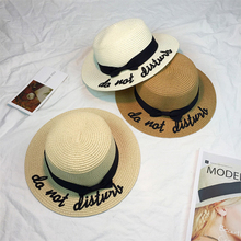 HT919 Korea Style Embroidery Letter Boater Hat Summer Ribbon Round Bow Flat Top Wide Brim Straw Hat Men Women Fedora Panama Hat(China)