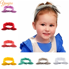 Solid Bunny Ears Elastic Hair Band For Kids 2018 Cotton Knot Bow Headband Children Rabbit Ears Hair Bands Hair Accessories(China)