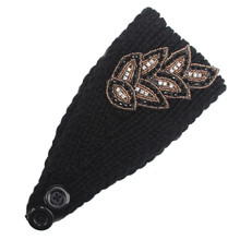 Newly Design Women Fashion Diamond Beads Leaf Pattern Knitted Wool Headbands Warm Hair Bands