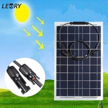 LEORY 12V 30W Solar Panel Semi-flexible Monocrystalline Solar Battery Cells DIY Power System Kit For Boat Camping +1m MC4 Cable
