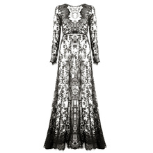 Summer Dresses Women Floor-Length Black White Lace Dress Adjust Waist Sexy See Through Floral Vestido