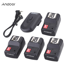 Andoer 1 Transmitter +4 Receivers +1 Sync Cord 16 Channel Wireless Remote Flash Trigger Set for Canon Nikon Sigma Speedlite