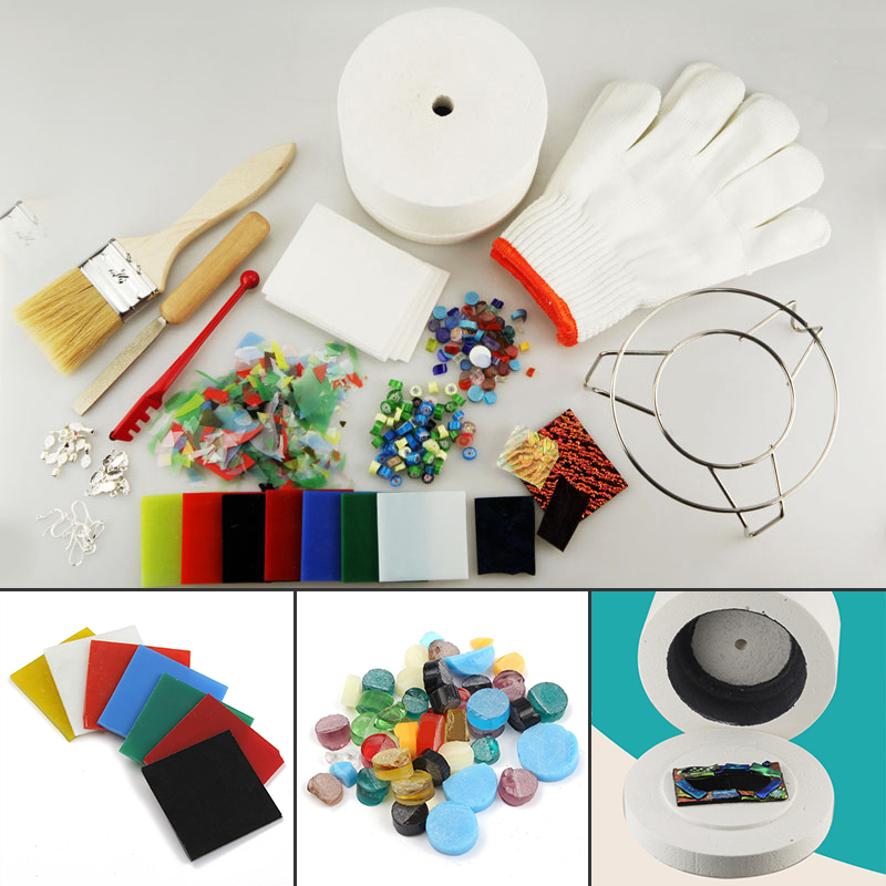 DWZ 15pcs Professional Microwave Kiln Tool Set Stained Glass Fusing Supplies DIY Kit