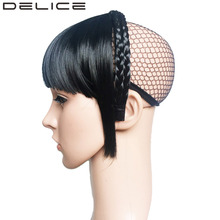 DELICE Braids Headband Blunt Bangs Fringe Neat With Temples High Temperature Fiber Synthetic Hair Extensions(China)