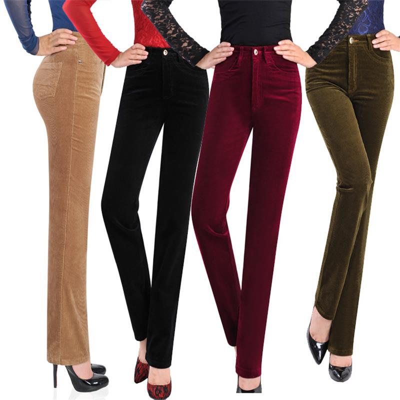 Women's Autumn Corduroy   Pants Female high Waist Business casual Candy Color flares Corduroy Trousers 27-38  code A417