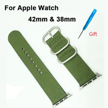Nylon Canvas Fabric Sport Edition Soft Replacement Watch Band Straps for Apple iWatch 42mm with Metal Clasp and Connector(China)
