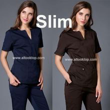 Uniformes hospital women medical nursing scrubs clothes dental lab coat slim surgical suit medical-clothing summer medical gowns(China)