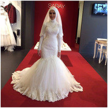 hijab wedding dresses high neck Mermaid floor length rabic Dubai Muslim Bridal Gowns online chinese store 2016