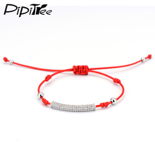 2017 New Thin Red String Cord Thread Rope Bracelet with CZ Zircon Long Tube Braiding Beads Bracelets for Women Girls Gift(China)