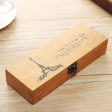 KiWarm Fashion Retro Multifunction Wooden Pencil Case jewelery Stationery Storage Box Cosmetic Makeup Decoration Crafts Box Gift