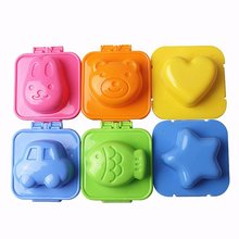 6 Pieces/Set Cute 3D Egg Plate Boilded Mould Baby Sushi Rice Mold Star Fish Car Heart Rabbit Bear Shape