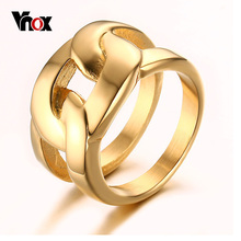 Vnox Gold-color Rings for Men Trendy X Cross Long Rings for Wedding Party Jewelry Wholesale