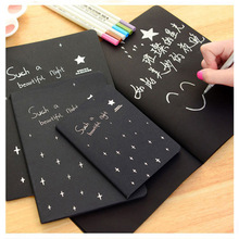 Kawaii Cute Notebook Diary Black Paper Notepad Sketch Graffiti Notebook For Drawing Painting Office School Stationery Gifts